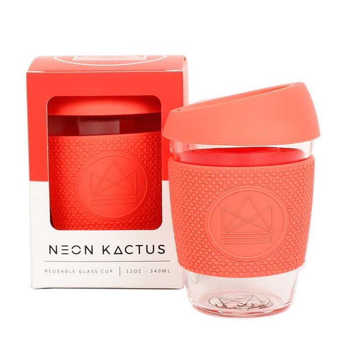 Reusable Glass Coffee Cup - Coral