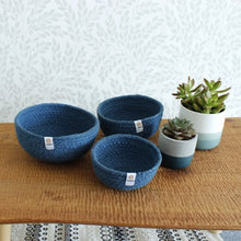Load image into Gallery viewer, Jute Mini Bowl Set for Storge - Denim