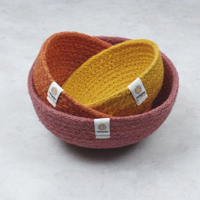 Jute Mini Bowl Set for Storage - Fire