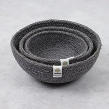 Load image into Gallery viewer, Jute Mini Bowl Set for Storge - Grey