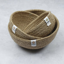 Load image into Gallery viewer, Jute Mini Bowl Set for Storage - Natural