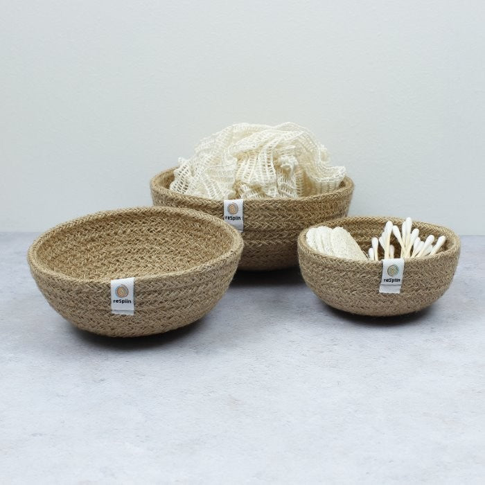 Jute Mini Bowl Set for Storage - Natural