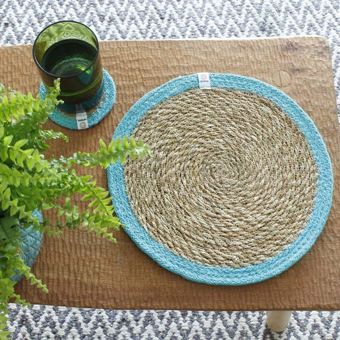 Round Seagrass & Jute Tablemat - Natural/Turquoise