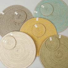 Load image into Gallery viewer, Round Spiral Jute Coasters