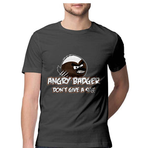 Angry Badger Don't give a Shit - Quirky Unisex Tshirt