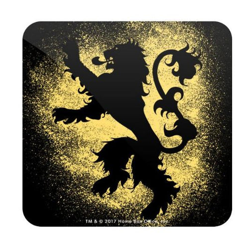 House Lannister Sigil Splatter- Game of Thrones Fan Printed Coaster