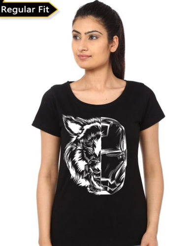Iron Wolf Girls Black T-Shirt- Game of Thrones Women Fan Tshirt