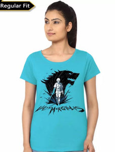 Arya Stark Valar Morghulis Girl's Light Blue T-Shirt- Game of Thrones Women Fan Tshirt