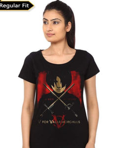 Valar Morghulis Girl's Black T-Shirt- Game of Thrones Women Fan Tshirt