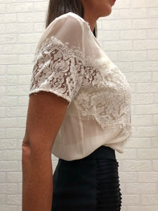 Lover Cream Silk & Lace Blouse