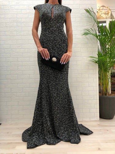 Aurelio Costarella Grey Sequin Evening Gown