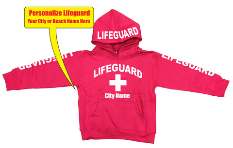 "Customizable ""Your City"" LifeGuard Neon Kids Fleece Hoodies"