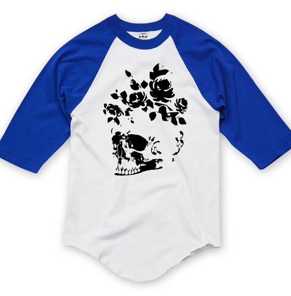 Floral Skull Graphic Baseball Tee