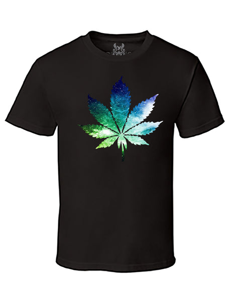 Galaxy Marijuana Digital Print T-Shirt