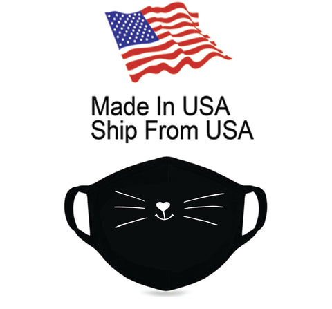 Animated Kitten Whiskers Cotton Face Mask
