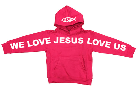Kids Jesus Loves You Fleece Hoodies