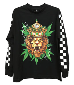 Lion Marijuana Digital Print Long Sleeve T-Shirt