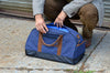 Canvas and suede weekender travel duffel