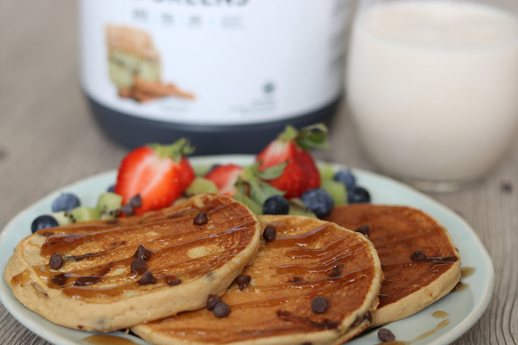 Vegan Chocolate Chip Protein Pancakes from LIV Body Athlete Natalie Matthews