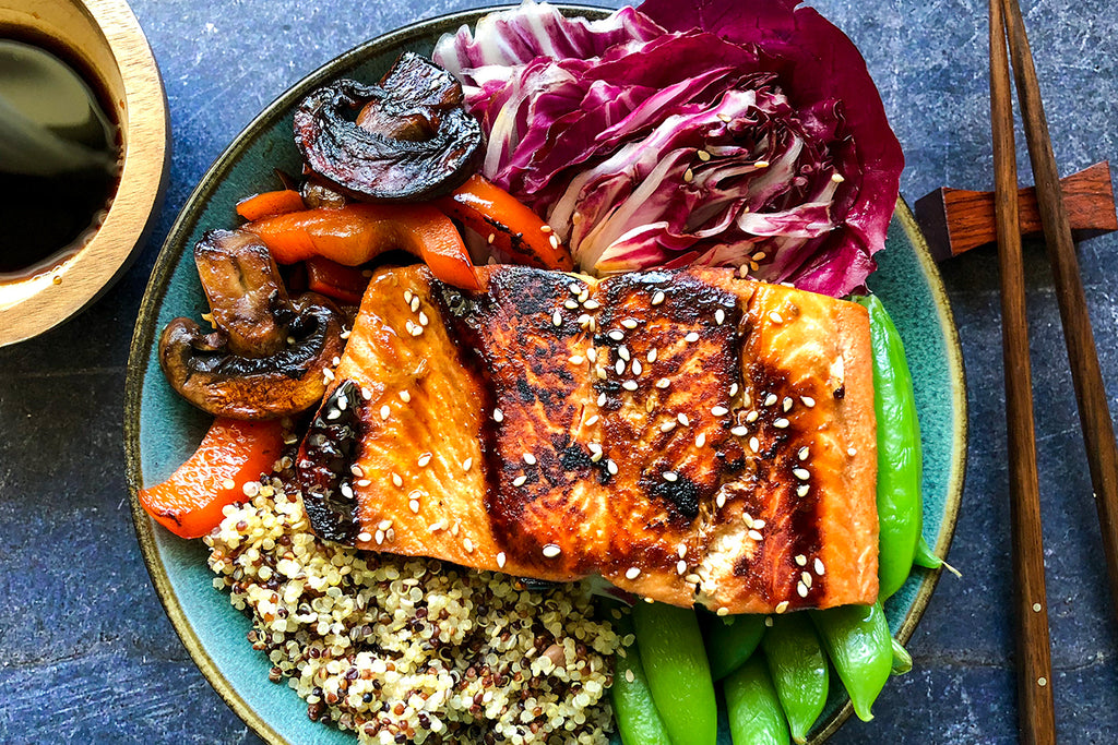 Low Carb Teriyaki Salmon & Quinoa Bowl Recipe