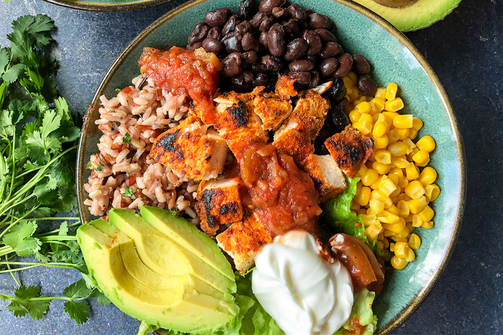Southwest Chili Lime Chicken Burrito Bowls Recipe