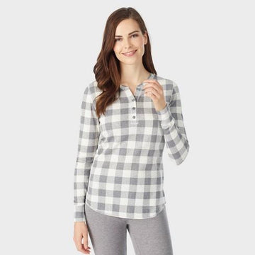 Warm Essentials By Cuddl Duds Women's Long Sleeve Thermals Waffle
