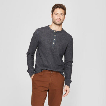 Men's Standard Fit Long Sleeve Textured Henley Shirt good fellow