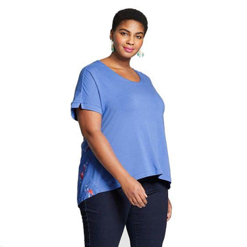 Women's Plus Size Short Sleeve T-Shirt - Ava & Viv - Blue Floral Print