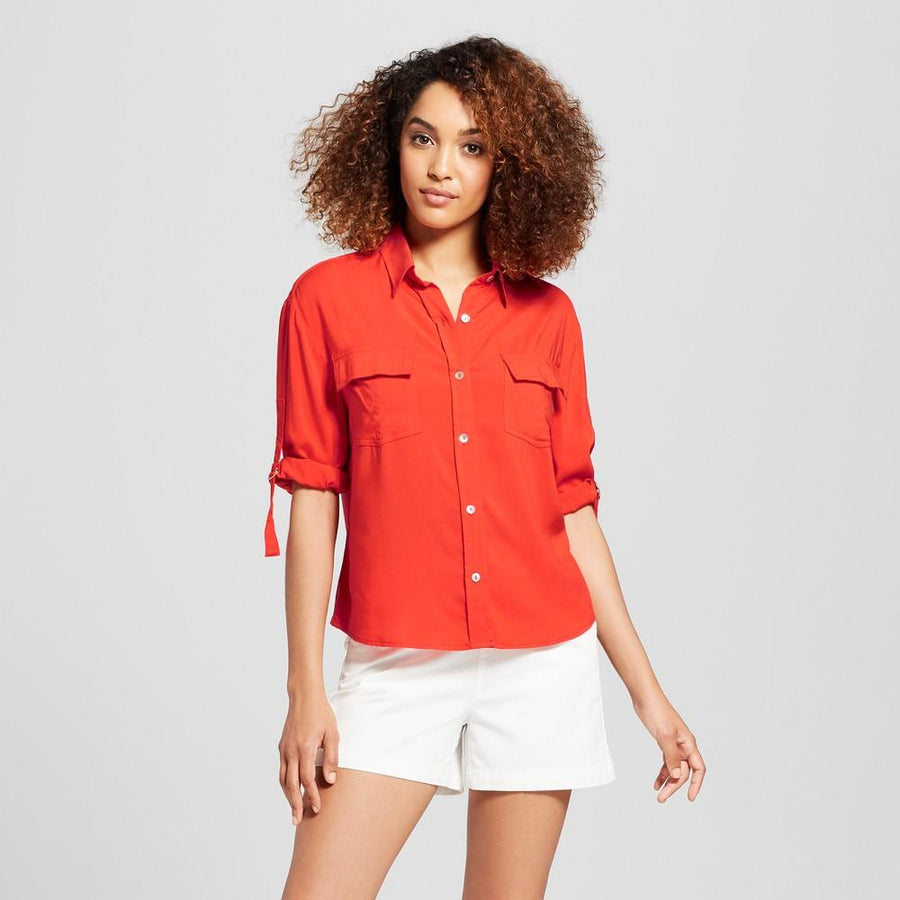 Women's 3/4 Sleeve Utility Shirt - A New Day Warm Orange