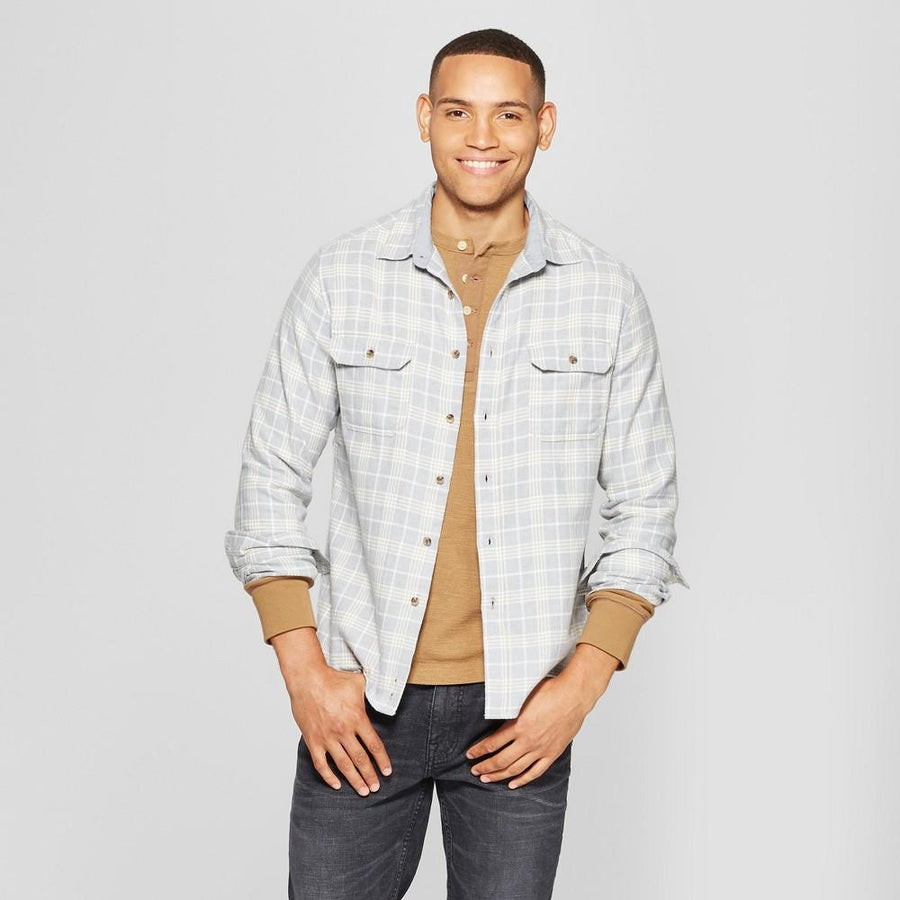 Men's Plaid Standard Fit Flannel Long Sleeve Button good fellow