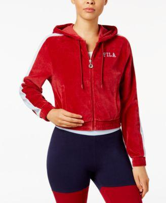 Fila Carly Velour Zip Hoodie Rio Red