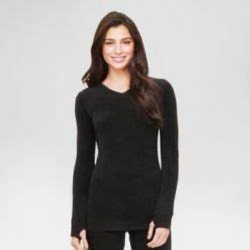 Warm Essentials by Cuddl Dudds Women's Thermal Active Long Sleeve Crew Top Black
