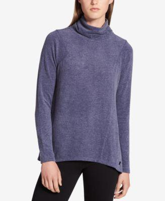 Calvin Klein Mock Neck High Low Hem Top Indigo