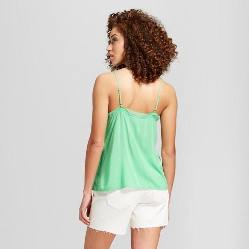 Women's Chiffon Trim Cami - A New Day Green