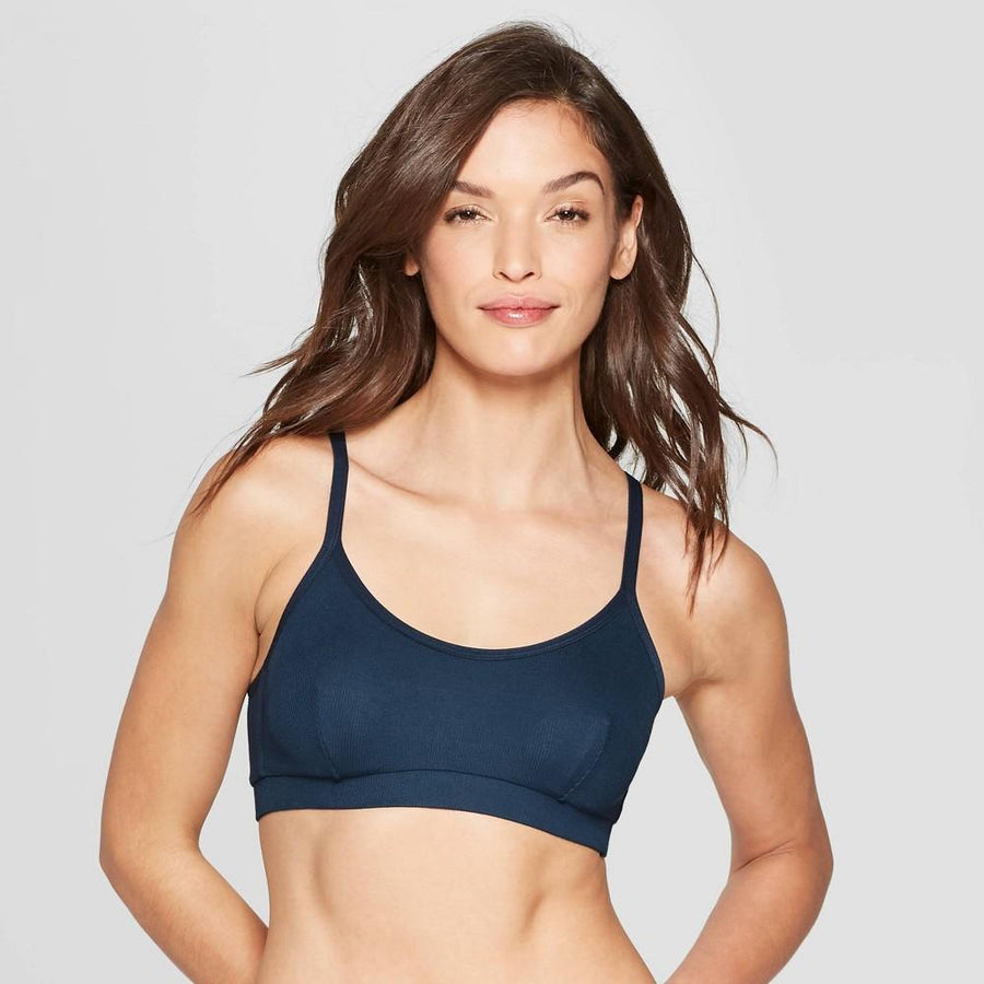 Auden Women's Smart Blue Lightly Lined Wirefree Bralette