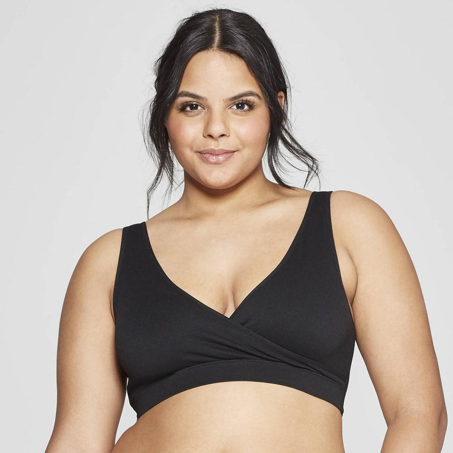 Women's Nursing 2pk Pull Over Seamless Sleep Bra - Auden Black/Soft Petal Pink
