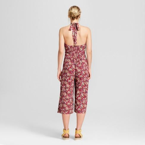 Xhilaration Women's Floral Print Halter Top Overall Jumpsuit