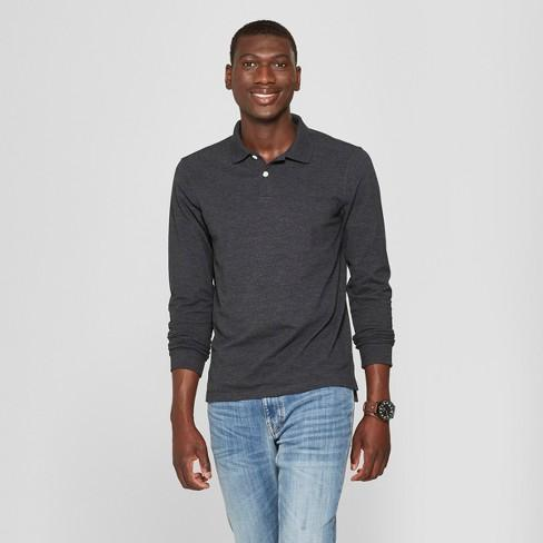 Men's Standard Fit Long Sleeve Pique Polo Shirt - Goodfellow & Co - Charcoal Grey
