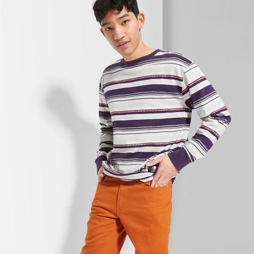 Men's Striped Regular Fit Long Sleeve Boxy T-Shirt - Original Use Essential Gray