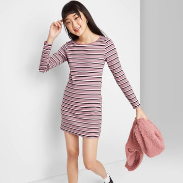 Women's Striped Long Sleeve Round Neck Knit Mini Dress - Wild Fable, Women's,