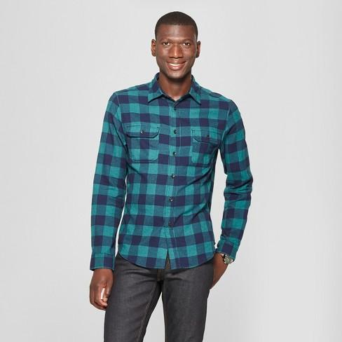 Men's Plaid Standard Fit 2-Pocket Flannel Long Sleeve Button-Down Shirt - Goodfellow & Co