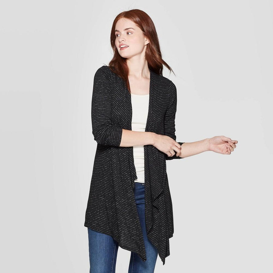 Women's Striped Long Sleeve Open Front Cardigan - Knox Rose Black