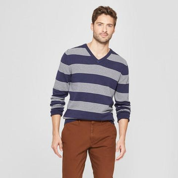 Men's Striped Standard Fit Long Sleeve V-Neck Sweater