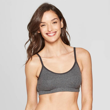Womens Auden Padded Ribbed Bralette Heather Gray