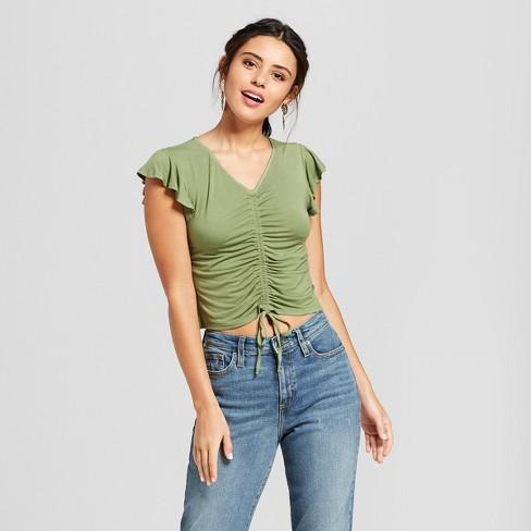 Women's Short Sleeve Cinched Front Knit Top - Xhilaration - Olive