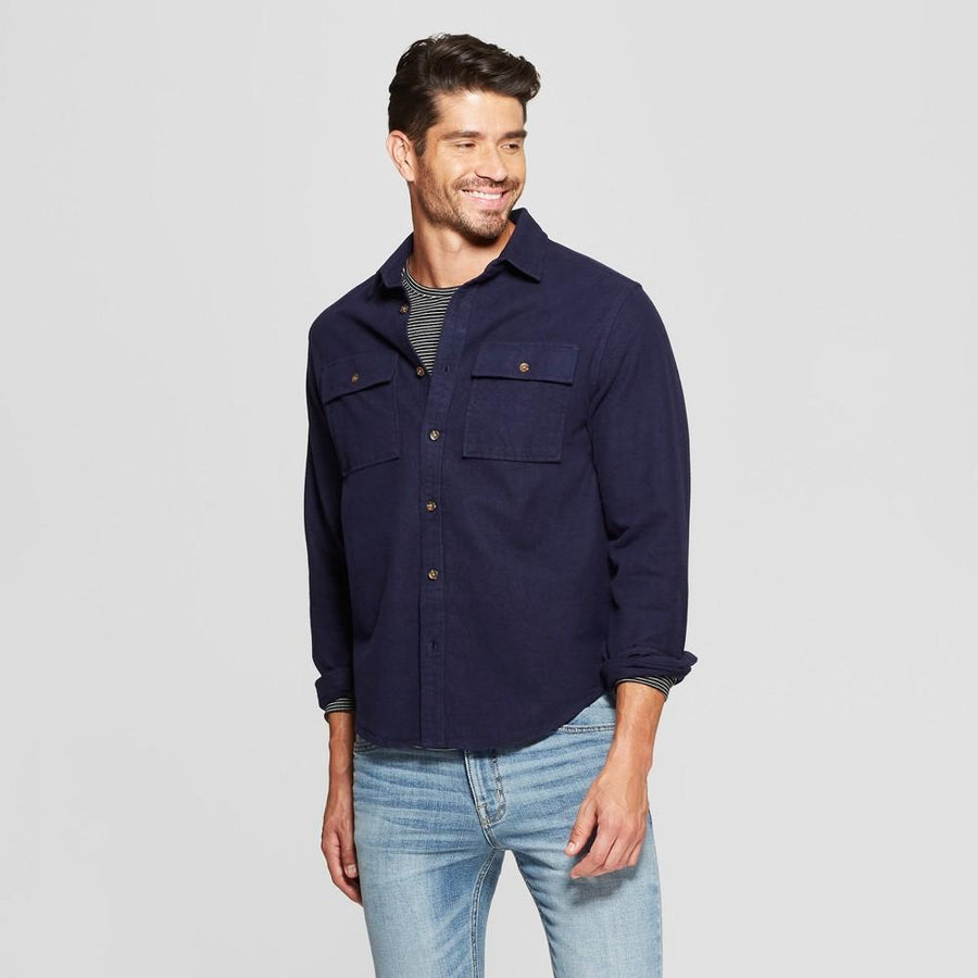 Men's Long Sleeve Pocket Flannel Button-Down Shirt