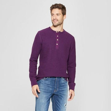 Men's Standard Fit Long Sleeve Textured Henley Shirt - Goodfellow & Co- Purple Currant