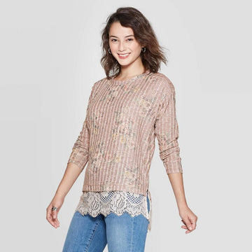 Women's Floral Print Long Sleeve Round Neck Lace Trim Sweater Knit Top