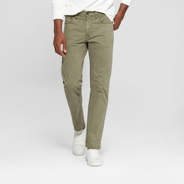 Men's Regular Slim Straight Fit Chino Pants - Good fellow olive green