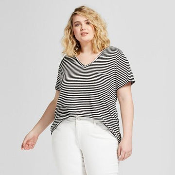 Women's Plus Size Monterey Pocket V-Neck Stripe - Universal Thread